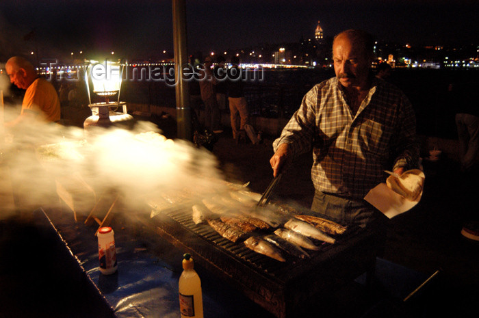 turkey174: Istanbul, Turkey: fish kebabs - street stall - photo by J.Wreford - (c) Travel-Images.com - Stock Photography agency - Image Bank