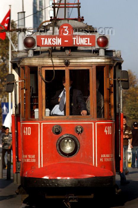 turkey179: Istanbul, Turkey: tram at Taksim square - Beyoglu - photo by J.Wreford - (c) Travel-Images.com - Stock Photography agency - Image Bank