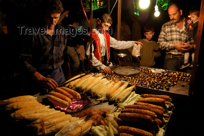 turkey184: Istanbul, Turkey: sweetcorn and roast chesntuts - street stall - photo by J.Wreford - (c) Travel-Images.com - Stock Photography agency - Image Bank