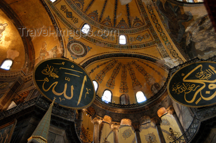 turkey195: Istanbul, Turkey: interior of the Aya Sofya - domes and calligraphy - photo by J.Wreford - (c) Travel-Images.com - Stock Photography agency - Image Bank