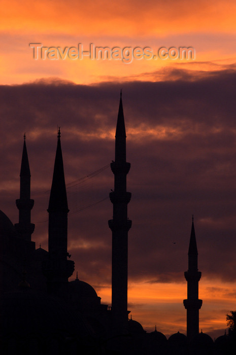 turkey197: Istanbul, Turkey: minarets at sunset - Historic Areas of Istanbul, Unesco World Heritage site - photo by J.Wreford - (c) Travel-Images.com - Stock Photography agency - Image Bank
