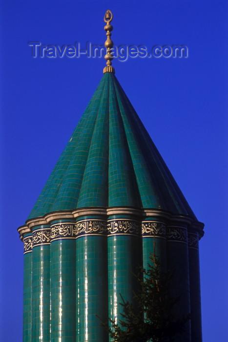 turkey250: Turkey - Konya / KYA : Mevlana's mausoleum - tiled tower / dergah kuppel - aqua tiled fluted dome - photo by J.Wreford - (c) Travel-Images.com - Stock Photography agency - Image Bank