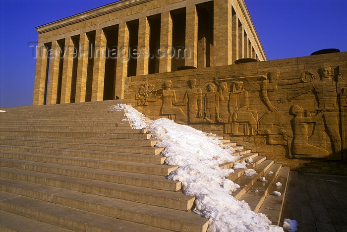 turkey255: Turkey - Ankara: Ataturk Memorial - stairs and snow - photo by J.Wreford - (c) Travel-Images.com - Stock Photography agency - Image Bank