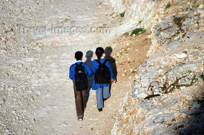 turkey312: Urfa / Edessa / Urhai / Riha / Sanliurfa, Southeastern Anatolia, Turkey: two school children and their shadows - photo by C. le Mire - (c) Travel-Images.com - Stock Photography agency - Image Bank