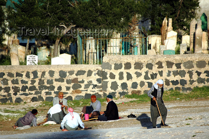 turkey314: Turkey - Urfa / Edessa: people resting by the cemetery - mezarlik - photo by C. le Mire - (c) Travel-Images.com - Stock Photography agency - Image Bank