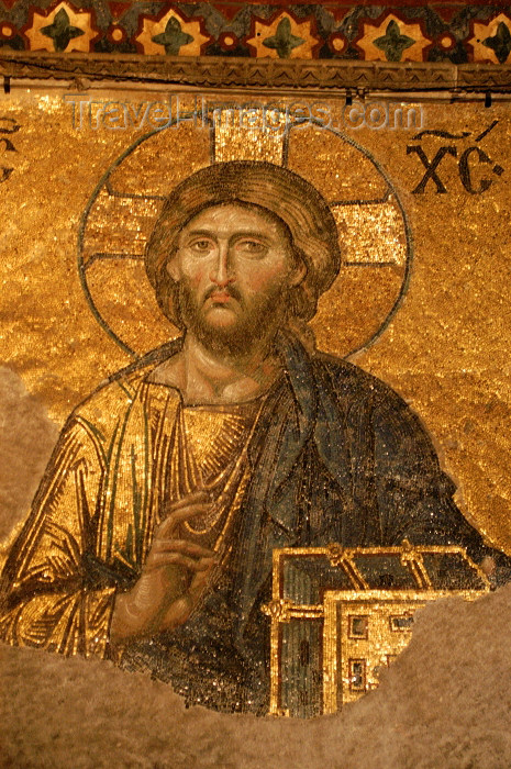 turkey38: Turkey - Istanbul / Constantinople / IST: Christian icon inside the Aya Sofya - Christ Pantocrator - Deesis mosaic - South Gallery - Ayasofya Museum - photo by J.Wreford - (c) Travel-Images.com - Stock Photography agency - Image Bank