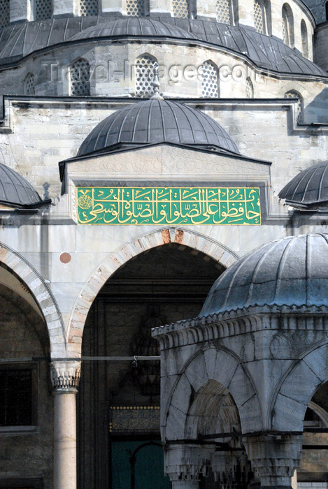 turkey387: Istanbul, Turkey: Blue mosque - inscription in the courtyard and detail of the ablutions fountain - Sultan Ahmet Camii - photo by M.Torres - (c) Travel-Images.com - Stock Photography agency - Image Bank