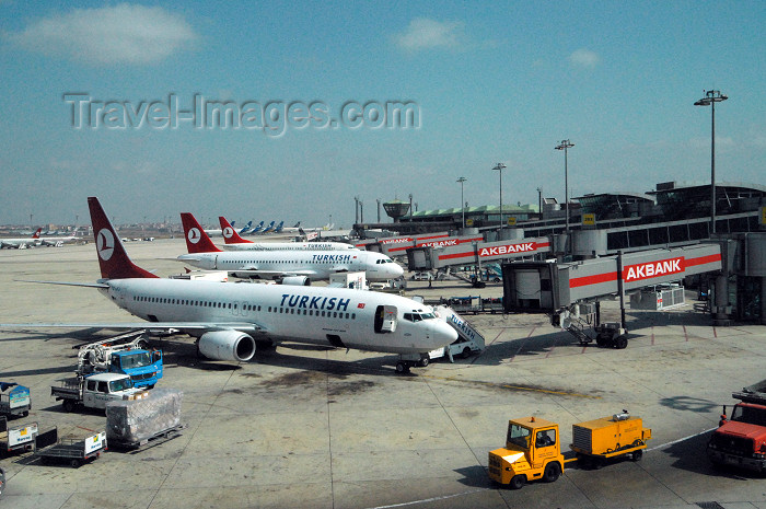 turkey403: Istanbul, Turkey: Ataturk airport - line of THY aircraft - Turkish Airlines - Akbank jetty - photo by M.Torres - (c) Travel-Images.com - Stock Photography agency - Image Bank