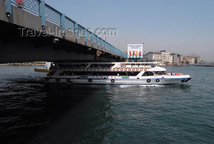 turkey405: Istanbul, Turkey: boat under the Galata bridge - Golden Horn - Haliç - photo by M.Torres - (c) Travel-Images.com - Stock Photography agency - Image Bank