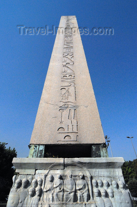 turkey407: Istanbul, Turkey: Egyptian obelisk in the hippodrome - the base shows a relief from the old Constantinople - Eminönü District - photo by M.Torres - (c) Travel-Images.com - Stock Photography agency - Image Bank