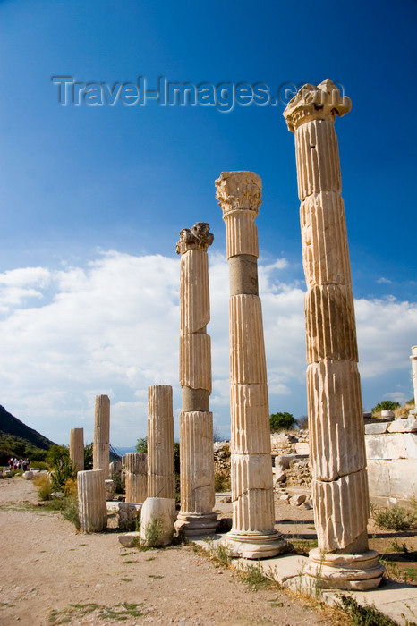 turkey43: Efes / Ephesus - Selcuk, Izmir province, Turkey: tall columns of the Arcadian way - Harbor Street - situated between the Harbour Baths and the great theatre - Roman ruins - photo by D.Smith - (c) Travel-Images.com - Stock Photography agency - Image Bank