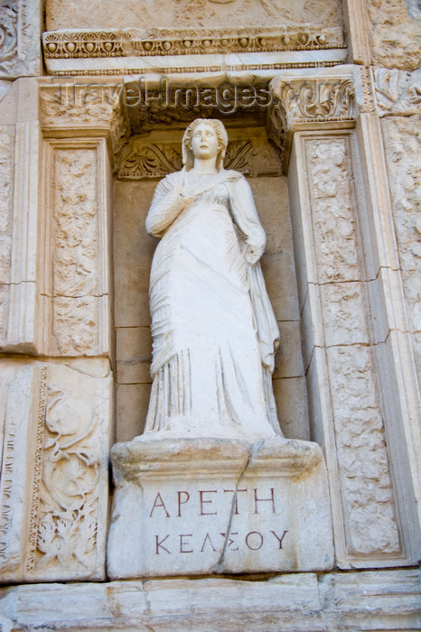 turkey47: Efes / Ephesus - Selcuk, Izmir province, Turkey: statue of  Arete, Greek for 'goodness', at the base of the Library of Proconsul Celsus Palemaeanus - photo by D.Smith - (c) Travel-Images.com - Stock Photography agency - Image Bank