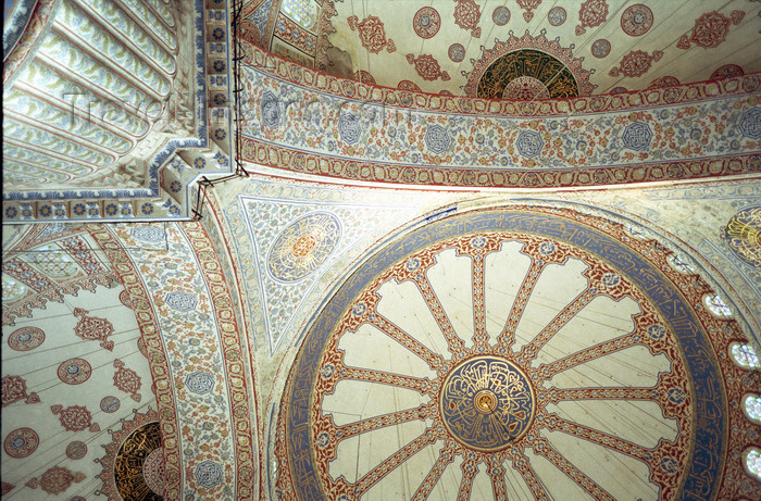 turkey495: Istanbul, Turkey: Blue mosque interior - dome - photo by S.Lund - (c) Travel-Images.com - Stock Photography agency - Image Bank
