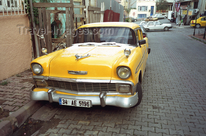 turkey496: Istanbul, Turkey: yellow classic car - 1950s Chevrolet  - photo by S.Lund - (c) Travel-Images.com - Stock Photography agency - Image Bank