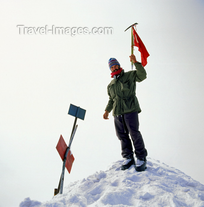 turkey538: Mount Ararat, Agri Province, East Anatolia, Turkey: mountain climber at the top - mountaineering - Walter Allgöwer self portrait - photo by W.Allgöwer - (c) Travel-Images.com - Stock Photography agency - Image Bank