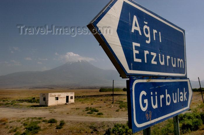 turkey539: Mount Ararat, Agri Province, East Anatolia, Turkey: road signs on the road to Erzurum - Agri, Erzurum, Gürbulak - photo by J.Wreford - (c) Travel-Images.com - Stock Photography agency - Image Bank