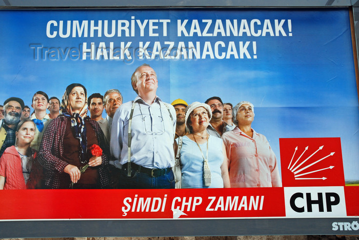 turkey554: Urfa / Edessa / Sanliurfa, Southeastern Anatolia, Turkey: electoral campaign - billboard for the Republican People's Party - centre-left  - CHP - Cumhuriyet Halk Partisi- photo by W.Allgöwer - (c) Travel-Images.com - Stock Photography agency - Image Bank