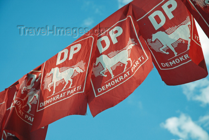 turkey558: Urfa / Edessa / Sanliurfa, Southeastern Anatolia, Turkey: campaign banners for the Democratic Party - Demokrat Parti, DP - horse and map of Anatolia - photo by W.Allgöwer - (c) Travel-Images.com - Stock Photography agency - Image Bank