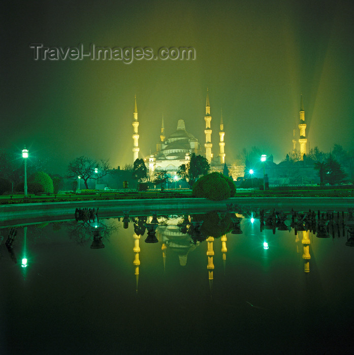 turkey596: Istanbul, Turkey: Blue mosque at night - mirror reflection - Sultan Ahmad square - Eminönü District - photo by W.Allgöwer - (c) Travel-Images.com - Stock Photography agency - Image Bank