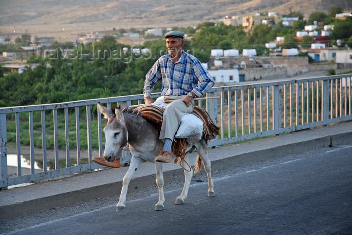 "turkey615: Hasankeyf / Heskif, Batman Province, Southeastern Anatolia, Turkey: an old Kurdish man crosses the bridge on his donkey - Atatürk coined the term ""Mountain Turks"" as an euphemism for the Kurdish people - photo by W.Allgöwer - (c) Travel-Images.com - Stock Photography agency - Image Bank"