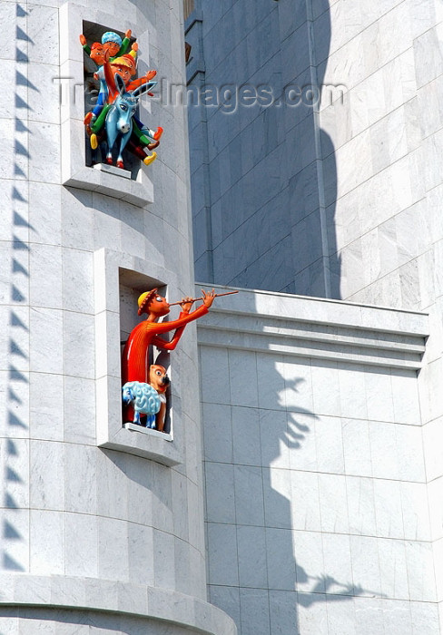 turkmenistan23: Turkmenistan - Ashghabat: puppet theater - detail - figures - flute player - architecture - photo by G.Karamyanc - (c) Travel-Images.com - Stock Photography agency - Image Bank
