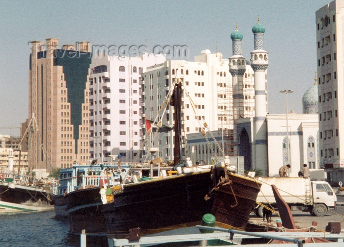 uaesj8: UAE - Sharjah: waterfront - dhow and mosque - Corniche Rd - photo by M.Torres - (c) Travel-Images.com - Stock Photography agency - Image Bank