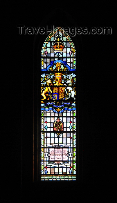 uganda102: Kampala, Uganda: St. Paul's Anglican Cathedral - stained glass window honoring king George V and bearing his coat of arms - photo by M.Torres - (c) Travel-Images.com - Stock Photography agency - Image Bank