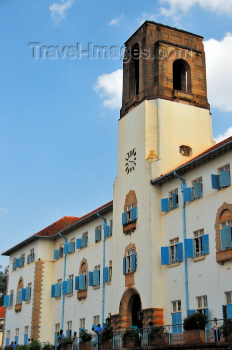 uganda111: Kampala, Uganda: central building clock tower Makerere University - colonial architecture, former University of East Africa - photo by M.Torres - (c) Travel-Images.com - Stock Photography agency - Image Bank