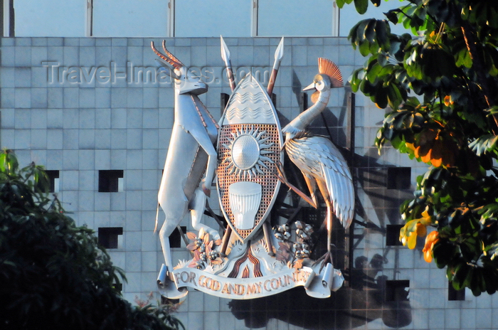 uganda134: Kampala, Uganda: Coat of Arms of Uganda, facade of the Parliament of the Republic of Uganda - shield, Ugandan Kob and Grey-crowned crane - photo by M.Torres - (c) Travel-Images.com - Stock Photography agency - Image Bank