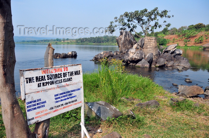 uganda140: Jinja, Uganda: source of the Nile river at Lake Victoria, Napoleon gulf - sign at Ripon Falls island, the falls themselves disappeared with the construction of Owen Falls Dam - photo by M.Torres - (c) Travel-Images.com - Stock Photography agency - Image Bank