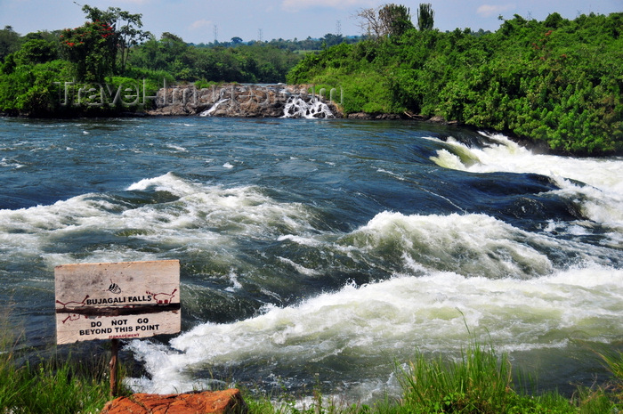 uganda151: Bujagali Falls, Jinja district, Uganda: danger sign at the edge of the Bujagali falls on the river Nile - Eastern bank - in 2012 the falls were submerged by the Bujagali Dam - photo by M.Torres - (c) Travel-Images.com - Stock Photography agency - Image Bank