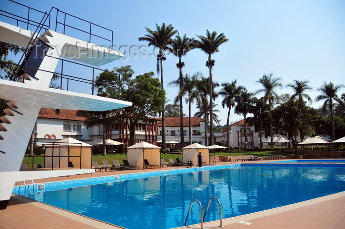 uganda166: Entebbe, Wakiso District, Uganda: Laico Lake Victoria Hotel - pool view with jumps platform - photo by M.Torres - (c) Travel-Images.com - Stock Photography agency - Image Bank