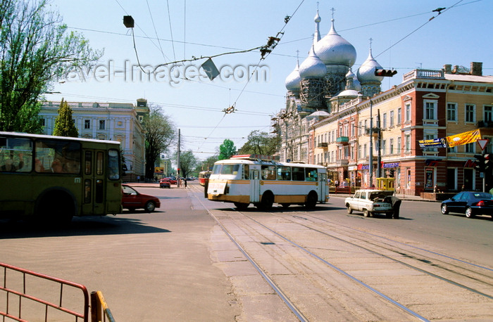ukra100: Odessa, Ukraine: vehicles on busy Taras Shevchenko avenue and the domes of St. Panteleimon the Healer church - photo by K.Gapys - (c) Travel-Images.com - Stock Photography agency - Image Bank