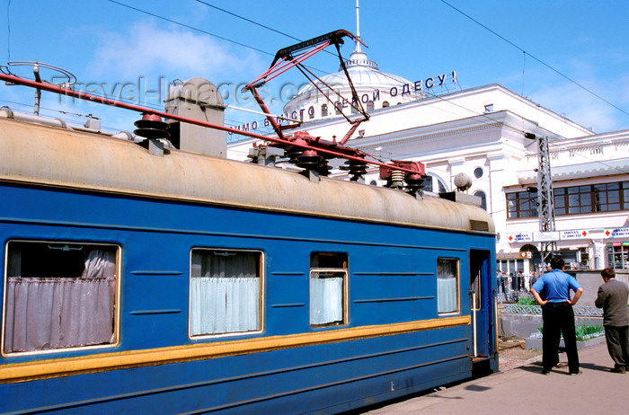 ukra101: Odessa, Ukraine: local electrical power train at the Central Train Station - sign honouring Odessa's statue as an 'Hero City' - photo by K.Gapys - (c) Travel-Images.com - Stock Photography agency - Image Bank