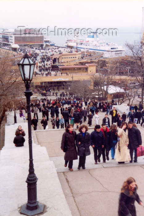 ukra17: Ukraine - Odessa / Odesa / ODS: endless stairways - top - view of the cruise terminal - location of Sergei Eisenstein's Battleship Potemkin (photo by Nacho Cabana) - (c) Travel-Images.com - Stock Photography agency - Image Bank