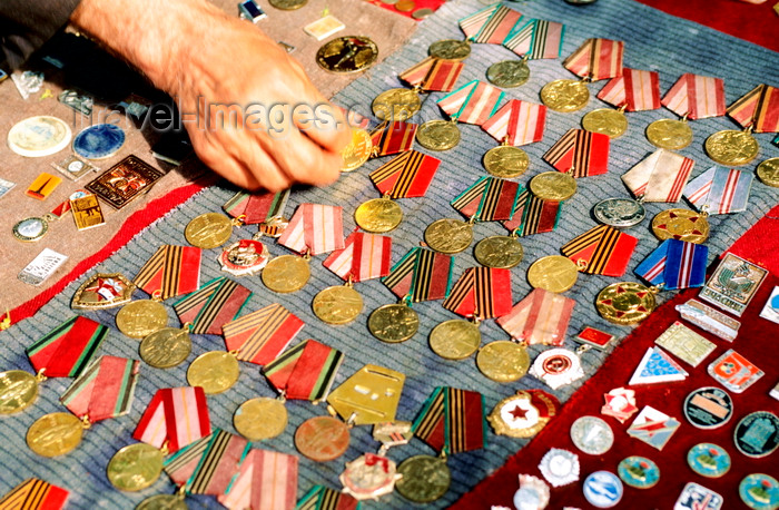 ukra80: Odessa, Ukraine: Soviet military decorations - street vendor selling medals, close-up, elevated view - photo by K.Gapys - (c) Travel-Images.com - Stock Photography agency - Image Bank