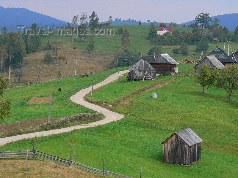 ukra93: Transcarpathia / Zakarpattya, Ukraine: countryside around Jablonica - green slope with road and rural houses - photo by J.Kaman - (c) Travel-Images.com - Stock Photography agency - Image Bank