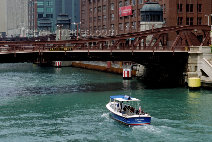 usa1068: Chicago, Illinois, USA: Chicago River - the Ikanakya motor boat heads under the Clark Street Bridge - photo by C.Lovell - (c) Travel-Images.com - Stock Photography agency - Image Bank