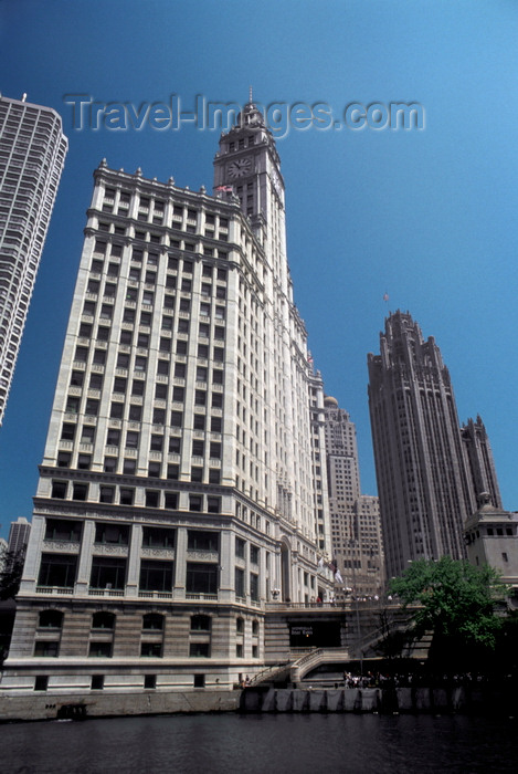 usa1069: Chicago, Illinois, USA: Wrigley Building and Tribune Tower as seen from the Chicago River - Chicago's 'Magnificent Mile' - photo by C.Lovell - (c) Travel-Images.com - Stock Photography agency - Image Bank