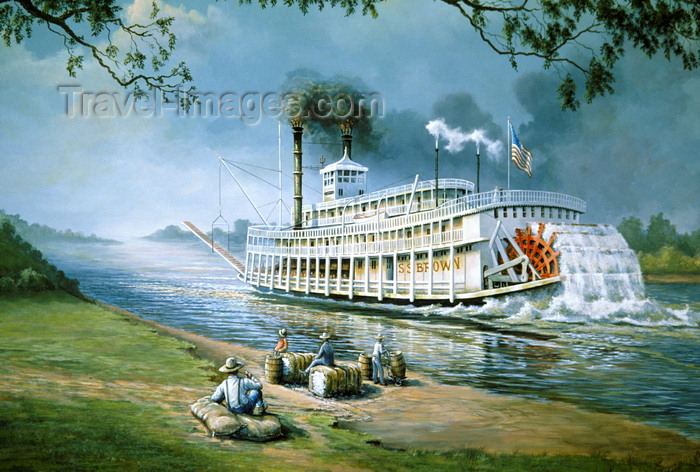 usa1103: Memphis, Tennessee, USA: mural of river boat on the Mississippi - paddlewheeler - photo by C.Lovell - (c) Travel-Images.com - Stock Photography agency - Image Bank