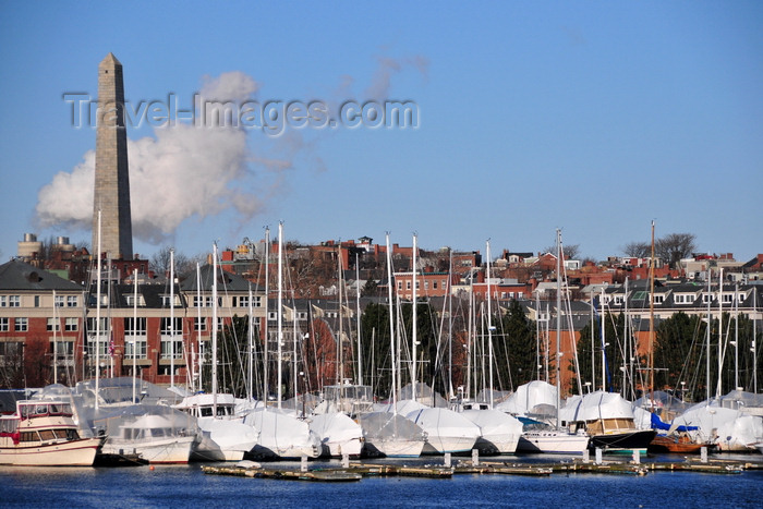usa1141: Boston, Massachusetts, USA: Charlestown - Constitution Marina - moored and covered sailboats with the Bunker Hill obelisk in the background - photo by M.Torres - (c) Travel-Images.com - Stock Photography agency - Image Bank