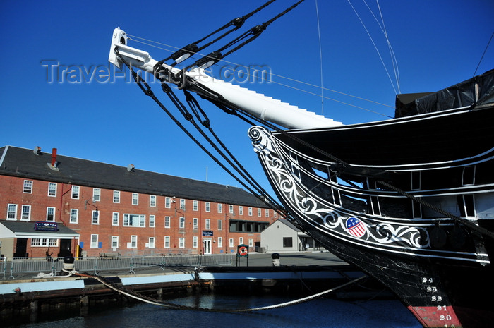 usa1150: Boston, Massachusetts, USA: Charlestown Navy Yard - prow and bowsprit of USS Constitution and visitor center - photo by M.Torres - (c) Travel-Images.com - Stock Photography agency - Image Bank