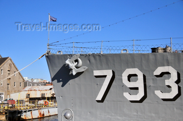 usa1151: Boston, Massachusetts, USA: Charlestown Navy Yard - USS Cassin Young DD-793 - prow with anchor and US Naval Jack - USN hull number - photo by M.Torres - (c) Travel-Images.com - Stock Photography agency - Image Bank