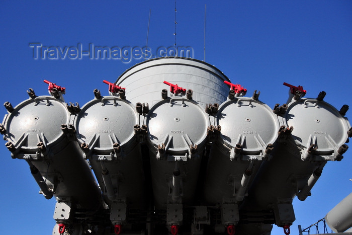 usa1154: Boston, Massachusetts, USA: Charlestown Navy Yard - Charlestown Navy Yard - USS Cassin Young DD-793 - 21in torpedo mount - Mk 15 anti-ship torpedoes - anti-ship weapon with a Torpex warhead - photo by M.Torres - (c) Travel-Images.com - Stock Photography agency - Image Bank