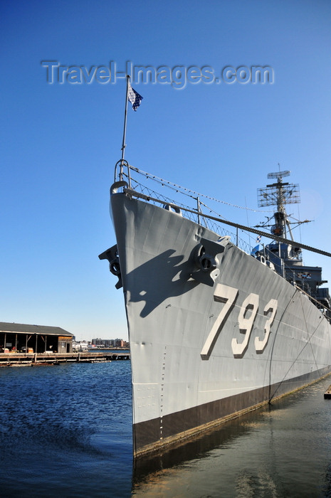 usa1155: Boston, Massachusetts, USA: Charlestown Navy Yard - Charlestown Navy Yard, Pier 1 - port bow view of USS Cassin Young DD-793 - built in 1943 by the Bethlehem Shipbuilding Corporation of San Pedro, California - survived 2 kamikaze attacks during WWII - photo by M.Torres - (c) Travel-Images.com - Stock Photography agency - Image Bank