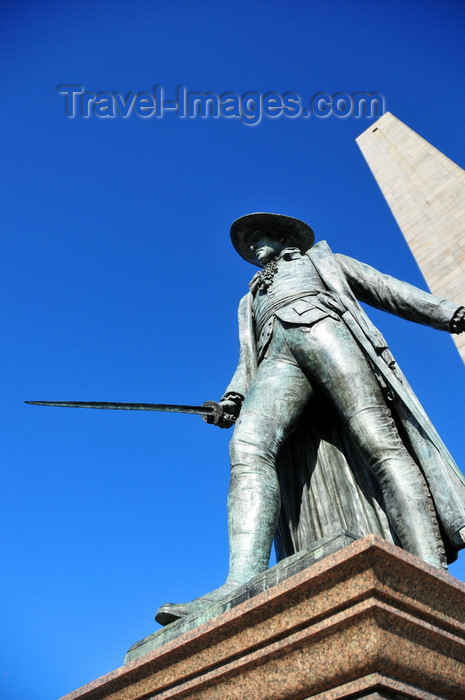 usa1163: Boston, Massachusetts, USA: Charlestown - Bunker Hill Monument - William Prescott Statue, sword in hand, facing the British troops - photo by M.Torres - (c) Travel-Images.com - Stock Photography agency - Image Bank
