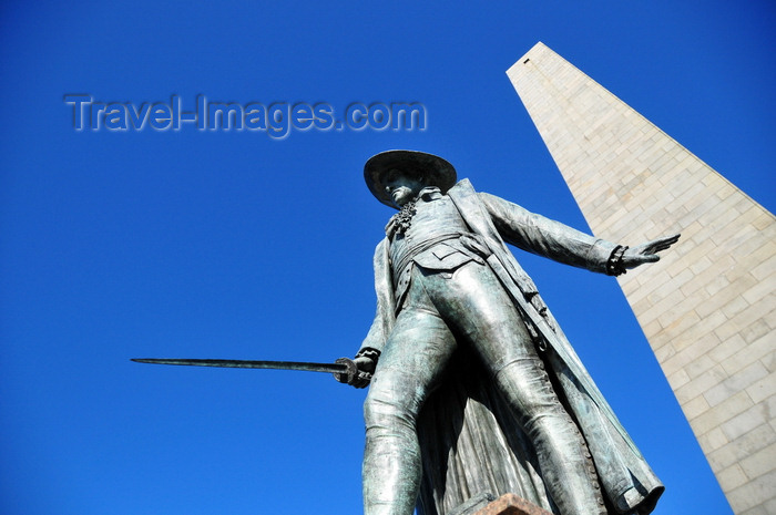 usa1164: Boston, Massachusetts, USA: Charlestown - Bunker Hill Monument obelisk and bronze statue of Colonel William Prescott, sculpted by William Wetmore Story - photo by M.Torres - (c) Travel-Images.com - Stock Photography agency - Image Bank
