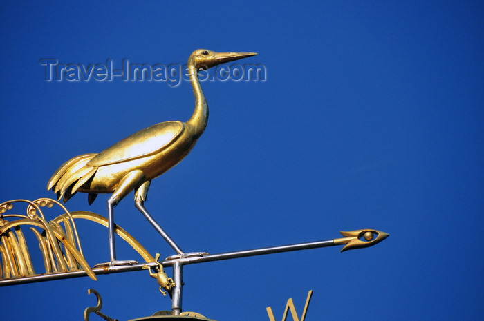 usa1171: Boston, Massachusetts, USA: Charlestown - weather vane - golden stork and frog atop the fountain on City Square Park - photo by M.Torres - (c) Travel-Images.com - Stock Photography agency - Image Bank