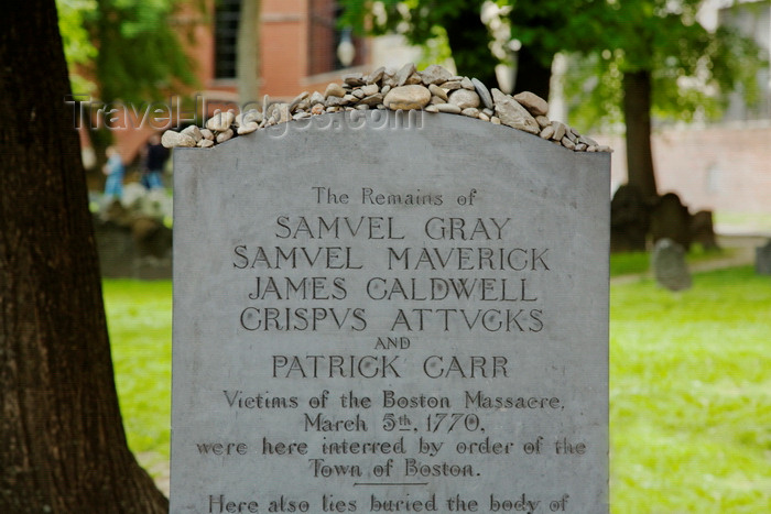 usa1221: Boston, Massachusetts, USA: grave of the victims of the Boston Massacre in the Granary Burying Ground - in 1770 five colonial civilians were killed following an attack against the British troops  - photo by C.Lovell - (c) Travel-Images.com - Stock Photography agency - Image Bank