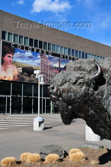 usa1377: Denver, Colorado, USA: Colorado History Museum - Baby Doe Tabor mural and bronze buffalo, sculpture 'On the wind', by T.D. Kelsey - Broadway, Civic Center - photo by M.Torres - (c) Travel-Images.com - Stock Photography agency - Image Bank